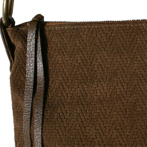 Slouchy Bag - Brown Sueded Basketweave