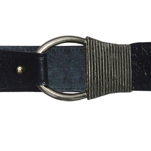 Cast Rope Belt - Black Leather with Antique Nickel Buckle