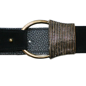 Cast Rope Belt - Black Suede with Antique Brass