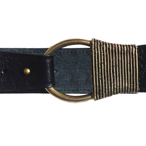 Cast Rope Belt - Black Leather with Antique Brass Buckle