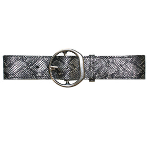 Big Chunky Waist Belt - Silver Metallic Snake