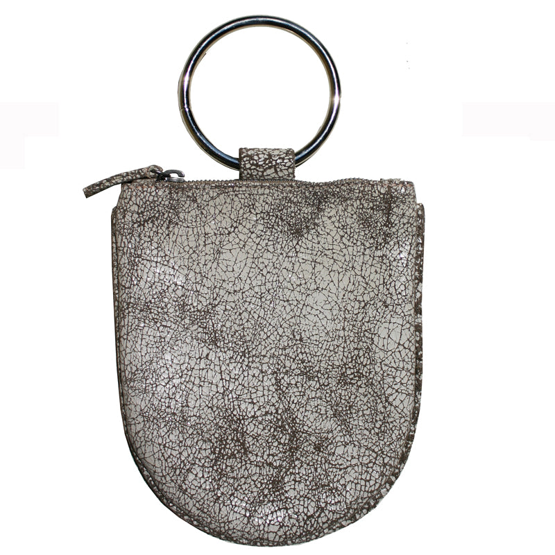 Mini Ring Wristlet - Crackle White
