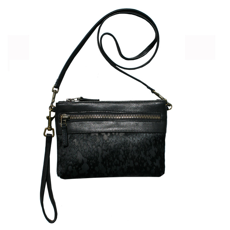 Double-Zip Bag with Two Straps - Black Fur