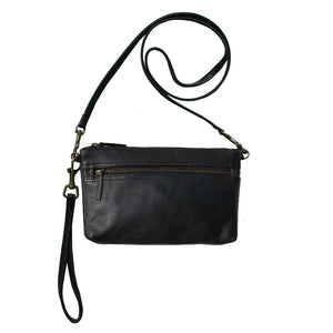 Double-Zip Bag with Two Straps - Black Leather