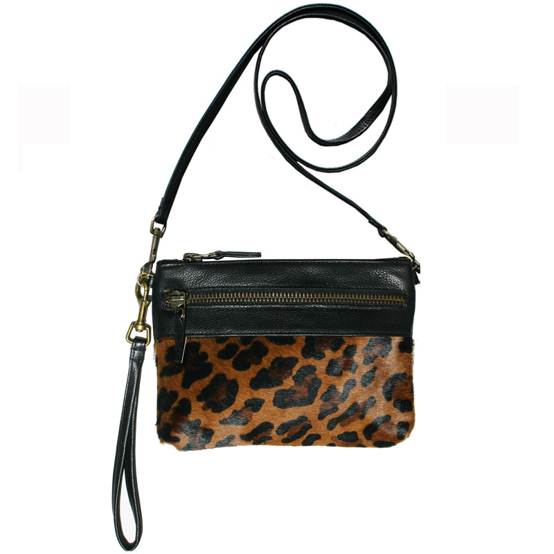 Double-Zip Bag with Two Straps - Leopard Fur
