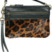 Load image into Gallery viewer, Double-Zip Bag with Two Straps - Leopard Fur