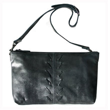 Load image into Gallery viewer, Laced Detail Bag- Dull Black Metallic