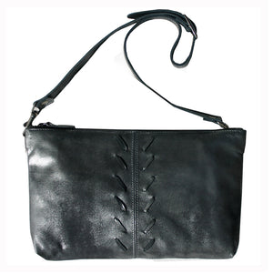 Laced Detail Bag- Dull Black Metallic