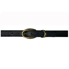 Load image into Gallery viewer, Etched wCast Keeper  Black wAntique Brass Buckle