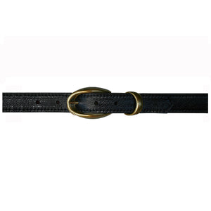 Etched wCast Keeper  Black wAntique Brass Buckle
