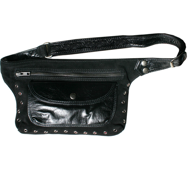 Black Suede & Leather Fanny Pack