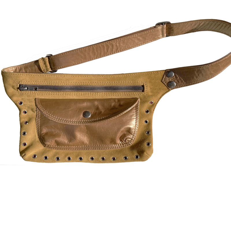 Butterscotch Suede & Leather Fanny Pack