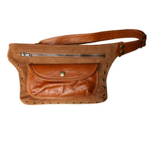 Load image into Gallery viewer, Cognac Suede & Leather Fanny Pack