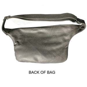 Grey Suede & Leather Fanny Pack