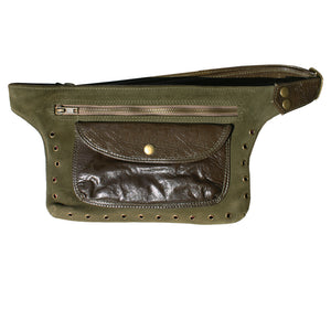 Olive Suede & Leather Fanny Pack