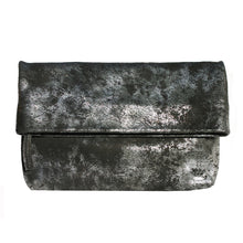Load image into Gallery viewer, Foldover Clutch wMagnet - Smoky Black Metallic