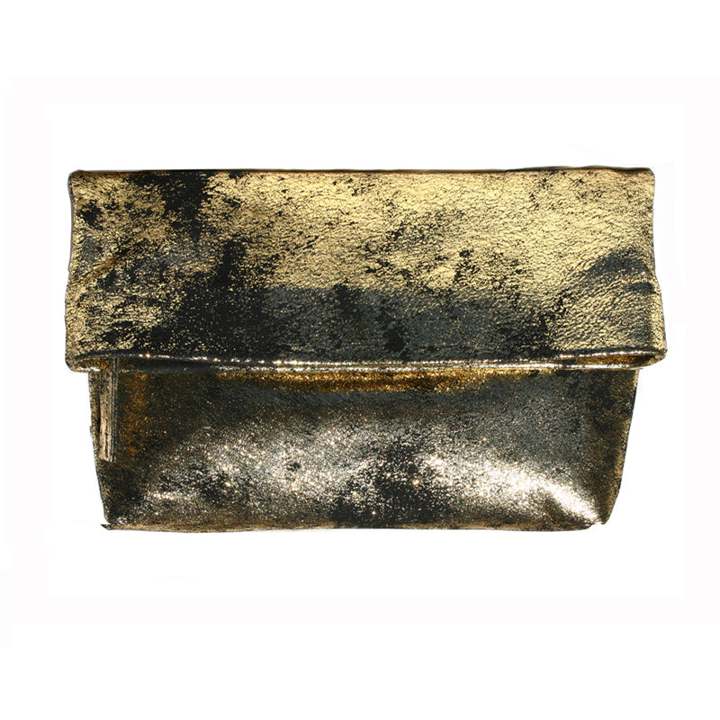 Foldover Clutch wMagnet - Smoky Gold Metallic