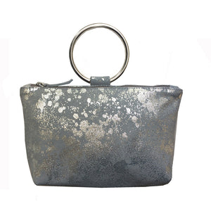 Ring Wristlet - Grey Metallic Splash