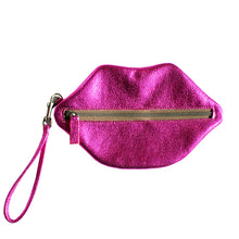 Load image into Gallery viewer, Kiss Wristlet - Hot Pink Metallic
