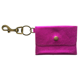 Coin Purse Key Chain - Hot Pink Metallic