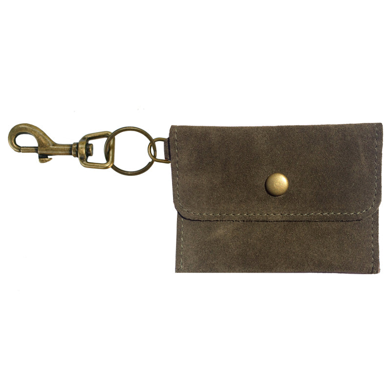 Coin Purse Key Chain - Olive Suede