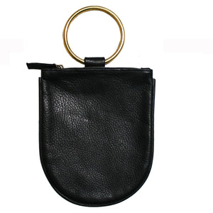 Mini Ring Wristlet - Black w/Brass Ring