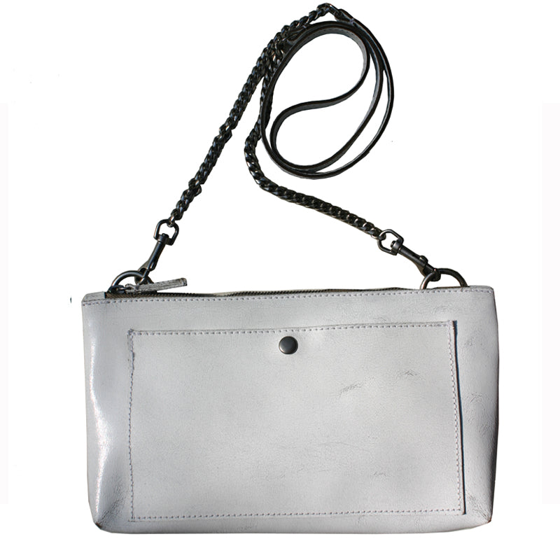 Patch Pocket Bag - Bright White Distressed