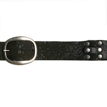 Load image into Gallery viewer, Pieced & Riveted Belt - Black Animal