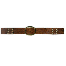 Load image into Gallery viewer, Pieced & Riveted Belt - Cognac Animal