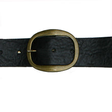 Load image into Gallery viewer, Heirloom Basic Belt - Dark Black with Antique Brass Buckle