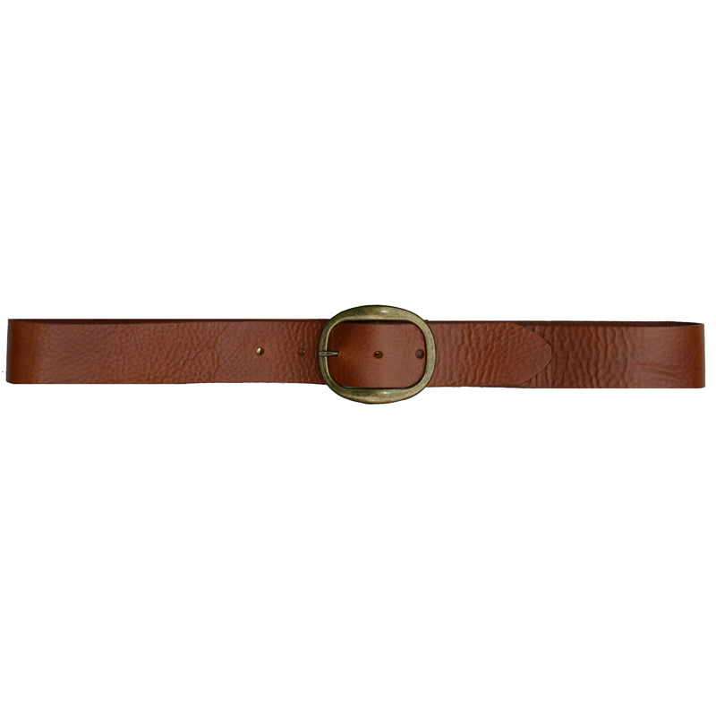 Heirloom Basic Belt - Cognac with Antique Brass Buckle