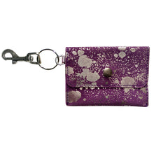 Load image into Gallery viewer, Coin Purse Key Chain - Purple Metallic Splash