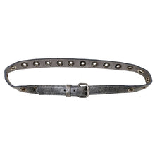 Load image into Gallery viewer, Skinny Grommet Belt - Antique Silver Metallic