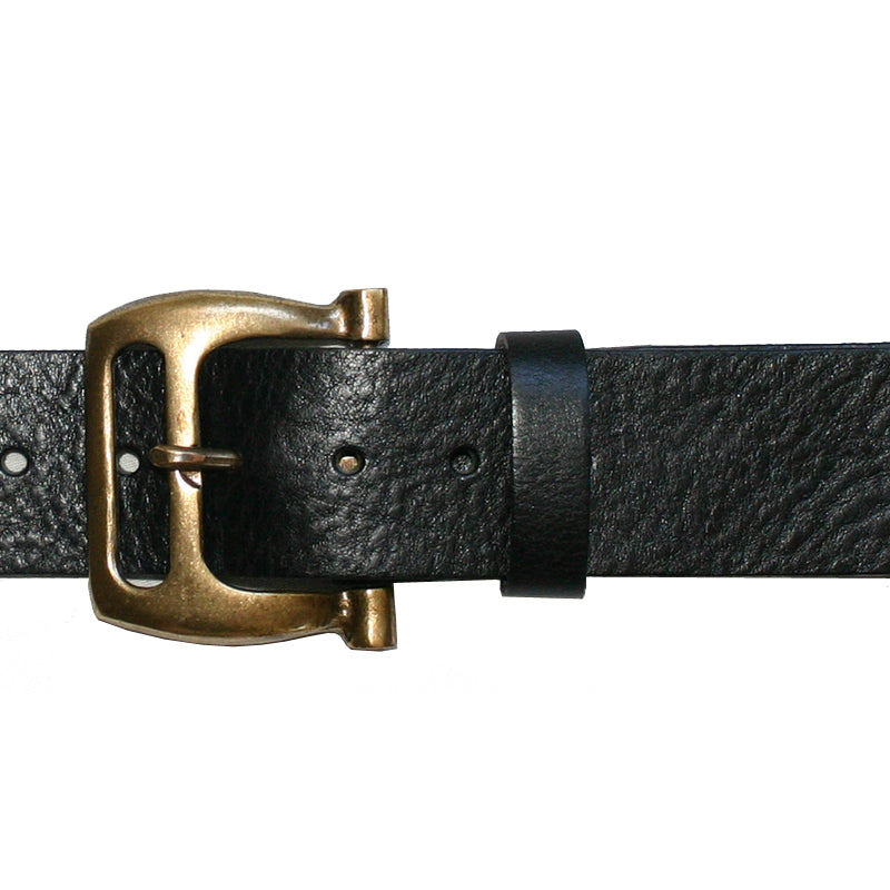 Slotted Buckle -Black wAntique Brass