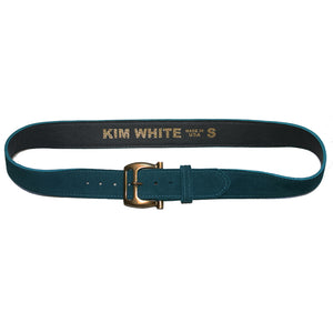 Slotted Buckle - Teal Suede wAntique Brass