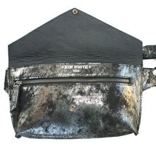 Load image into Gallery viewer, Smoky Black Metallic Seam-Out Fanny Pack