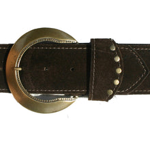 Load image into Gallery viewer, Stepped Waist Belt - Brown Suede