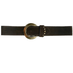 Stepped Waist Belt - Brown Suede