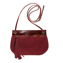 Load image into Gallery viewer, Tassle Bag - Burgundy Suede
