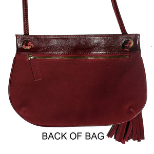 Tassle Bag - Burgundy Suede