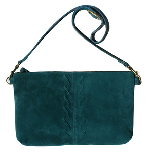 Laced Detail Bag - Teal Suede