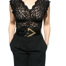 Load image into Gallery viewer, Triangle Waist Belt - Black with Antique Brass Buckle