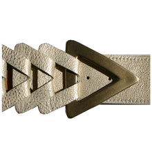 Load image into Gallery viewer, Triangle Waist Belt - Cream Metallic with Antique Brass Buckle