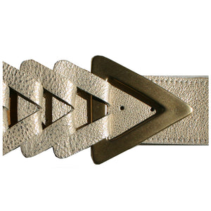 Triangle Waist Belt - Cream Metallic with Antique Brass Buckle