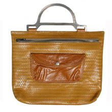 Load image into Gallery viewer, Metal Handle Bag - Mustard Basketweave