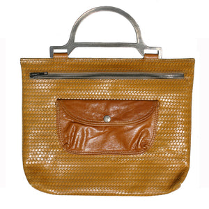 Metal Handle Bag - Mustard Basketweave