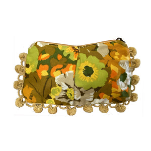 Golden Floral Pom Pom Bag