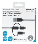 Universal Charge and Sync cable, 1m, Micro USB, USB-C, Lightning