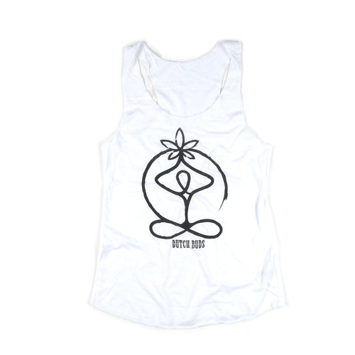 Organic Bamboo/Cotton White Prayer Meditation Tank - leaftoember.com