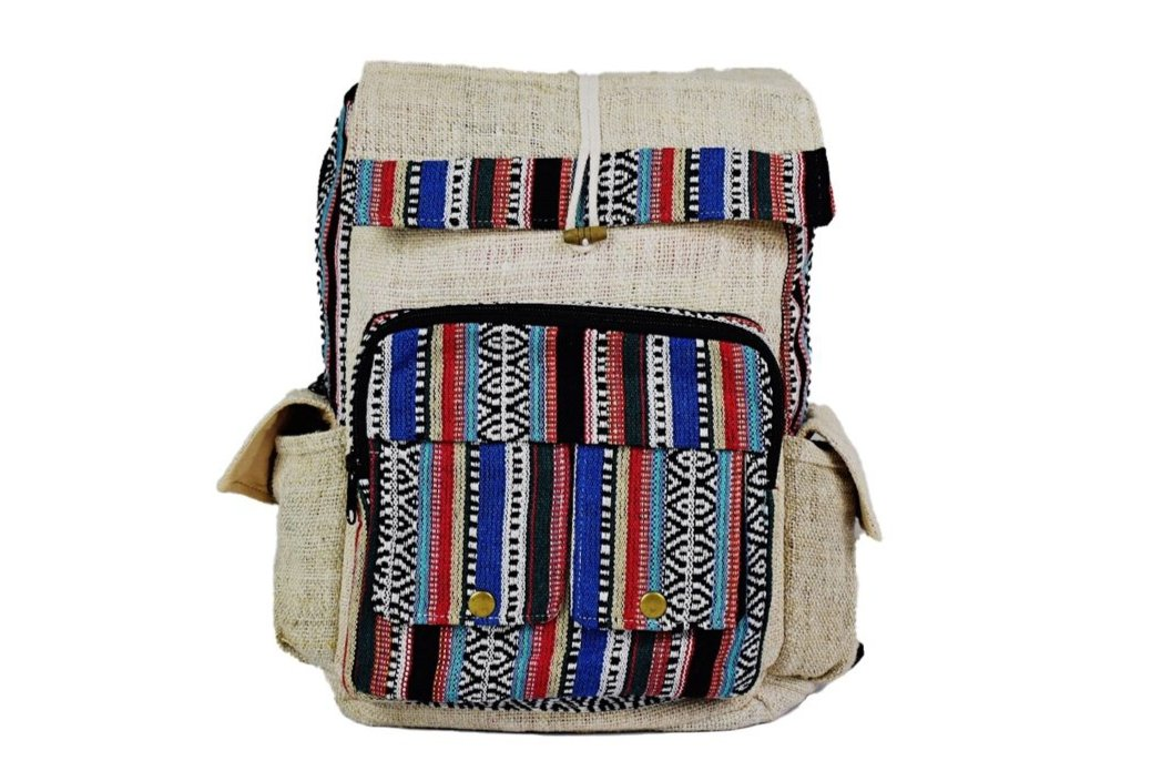Boho Hemp Rucksack, Eco Friendly Natural Hemp Backpack - leaftoember.com